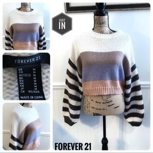 Forever 21 Cropped Striped Sweater Size Medium